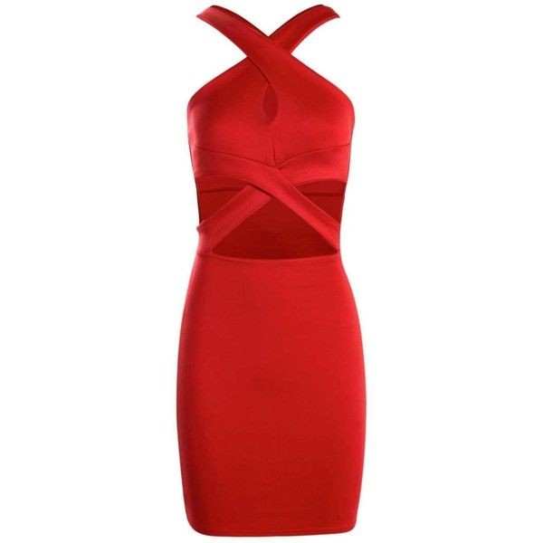 Boohoo Petite Julia Cross Over Detail Bodycon Dress   Boohoo ($18) ❤ liked on Polyvore featuring dresses, petite bodycon dresses, petite dresses, boohoo dresses, body conscious dress and red dress