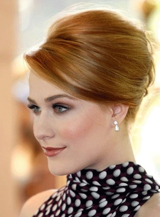 lovely makeup~ don't love the brow color. chic, sleek updo~