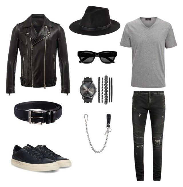 """Лук#1"" by hyzirt on Polyvore featuring Balmain, Joseph, Brixton, Napapijri, Sun Buddies, Florsheim, Dsquared2, men's fashion и menswear"
