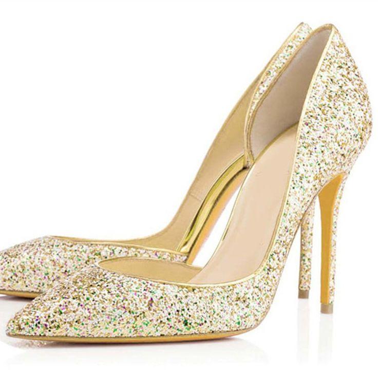 2015 nouvelles chaussures de mariage haute talons bout pointu chaussures de soirée or paillettes tissu robes de mariée et de demoiselle d'honneur sexy chaussures dans Ballerines pour femmes de Chaussures sur AliExpress.com | Alibaba Group