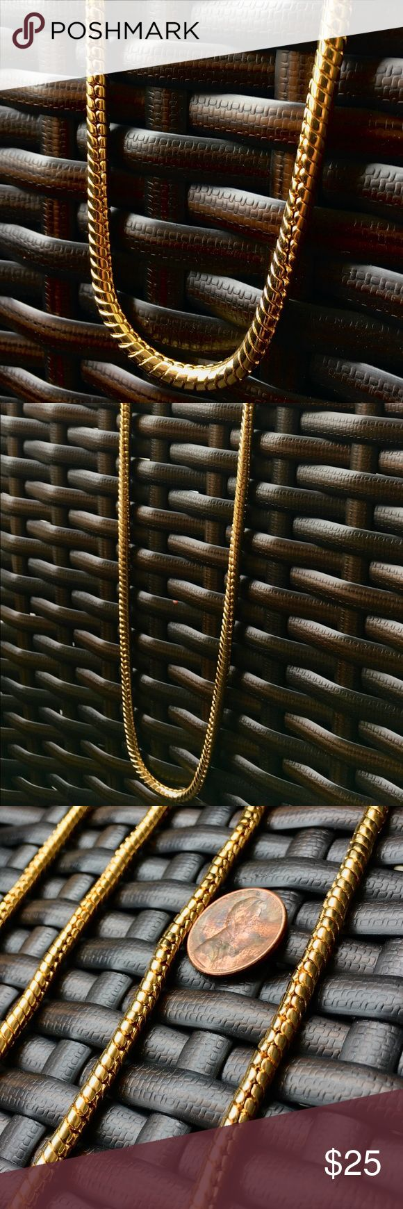 New 14k Gold Finish Long Rope Chain Brand new never worn before. Men's Rope Gold Chain. 14k Gold plated Stainless steel. A must for the summer and vacation! 36 inches in length and 10mm thick! Accessories Jewelry