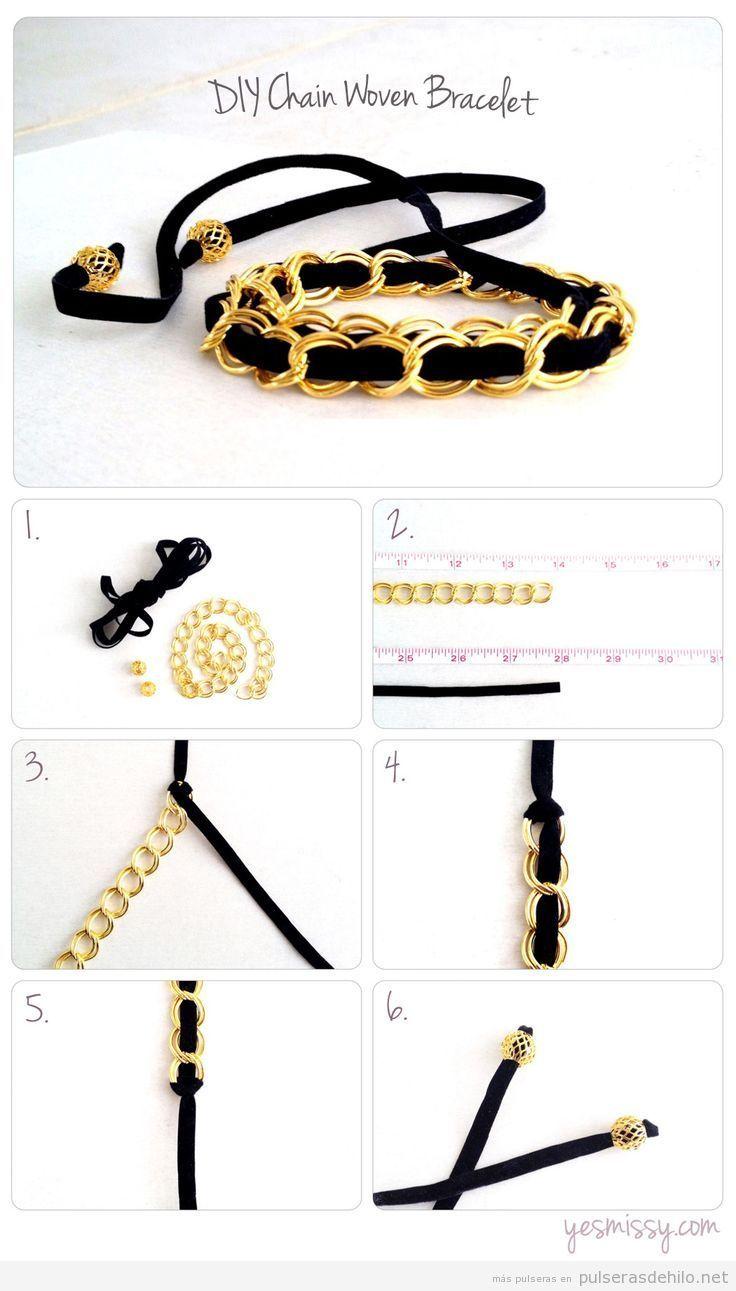 Tutorial paso a paso, pulsera DIY con una cadena y un cinta de terciopelo