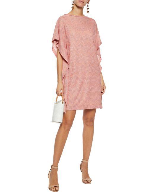 a6a0ec828385 Women s Woman Draped Metallic Crochet-knit Mini Dress Pastel Pink