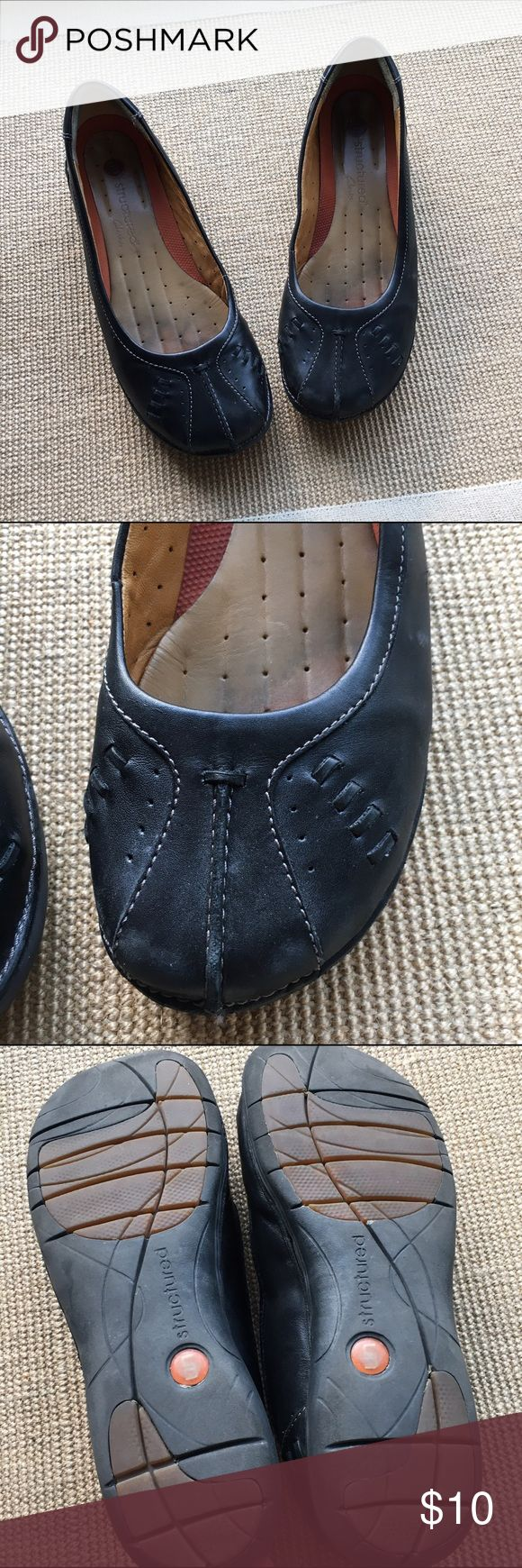 Clarks Unstructured Flats One of the most comfortable shoes you will wear! These Clark Unstructured flats are the best of two worlds-cute and comfy! Shows signs of wear but still in good condition. Clarks Shoes Flats & Loafers