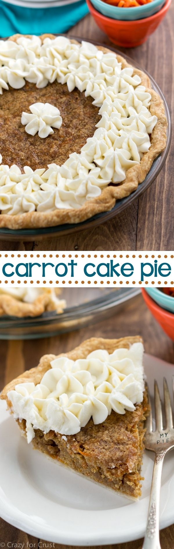 Carrot Cake Pie is an easy dessert recipe that's perfect for carrot cake lovers! It's a carrot cake blondie in a pie crust that's topped with cream cheese whipped cream!