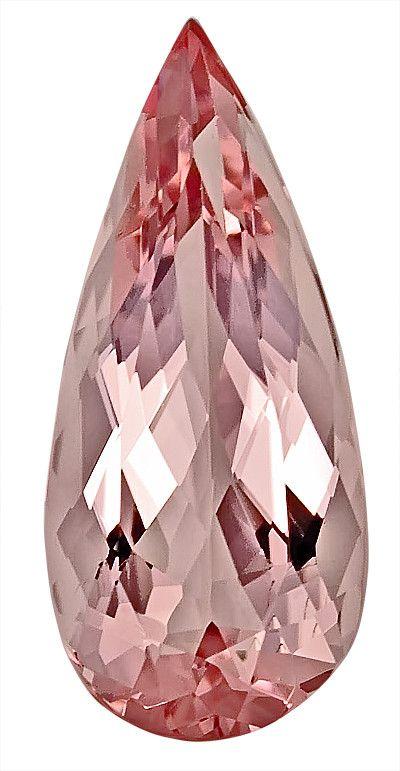 Genuine Morganite Loose Gemstone, Pastel Pink, Pear Cut, 20.2 x 9.2 mm, 6.64 Carats at BitCoin Gems