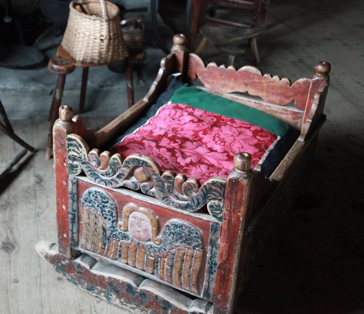 Old Cradle at Maihaugen Open Air Museum in Lillehammer, Norway