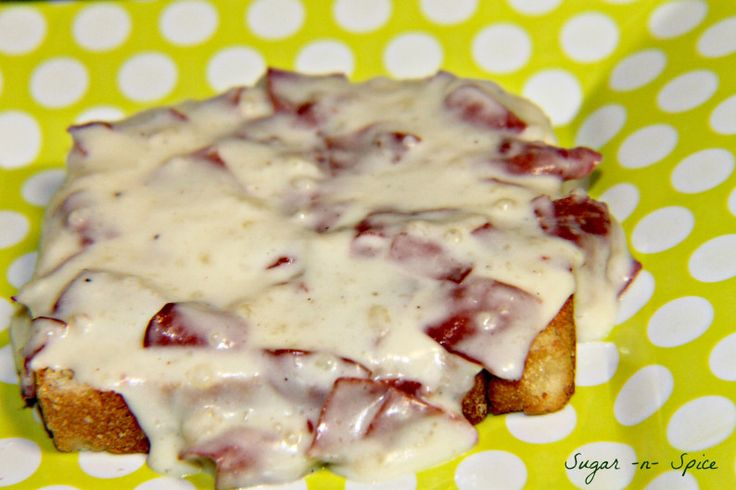 Chipped Beef: 1/2 stick butter - 1/3 c. flour - pepper - 1/2 c. milk - 1/2 c. water - 1 can Armour dried beef  Melt butter in pan on high. Add  flour and whisk, (let the flour get a little brown).  Mix milk and water together and pour into mixture and whisk. Bring to boil. Turn burner on to medium/low and let cook until thickened. Add pepper to your taste. Cut chipped beef and put them in your gravy. Stir. If the gravy starts getting too thick, then add a little bit of water. Serve over…