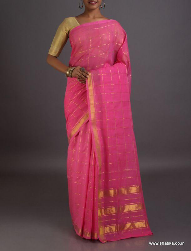Bodhini Rose Pink Golden Checks #VenkatgiriCottonSaree