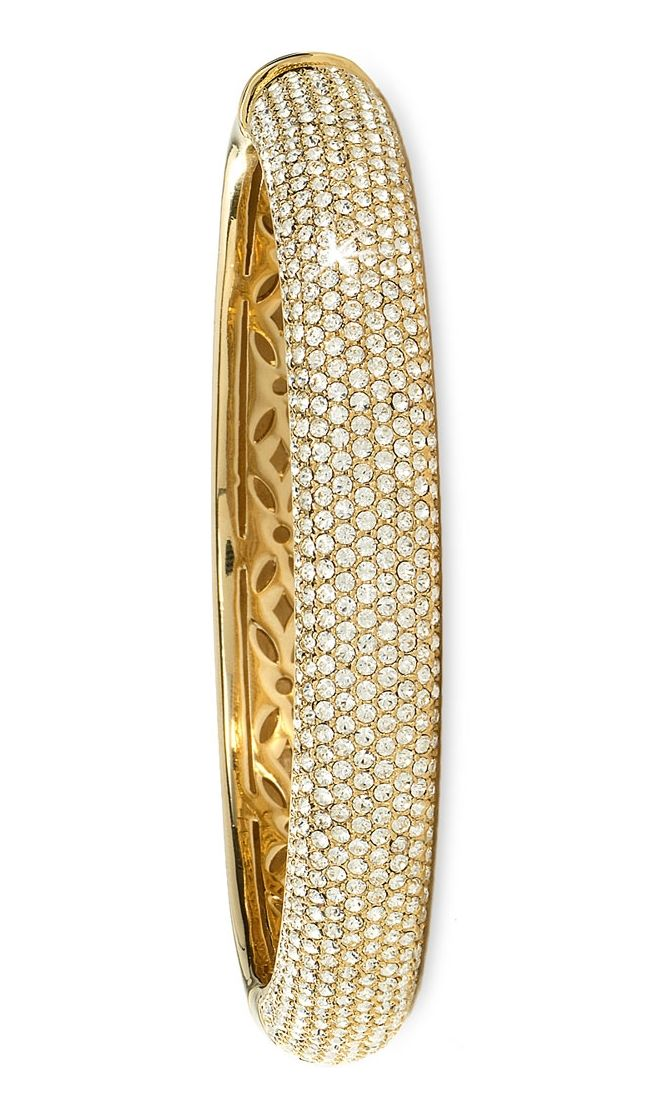 All glitz with this gold crystal bangle.