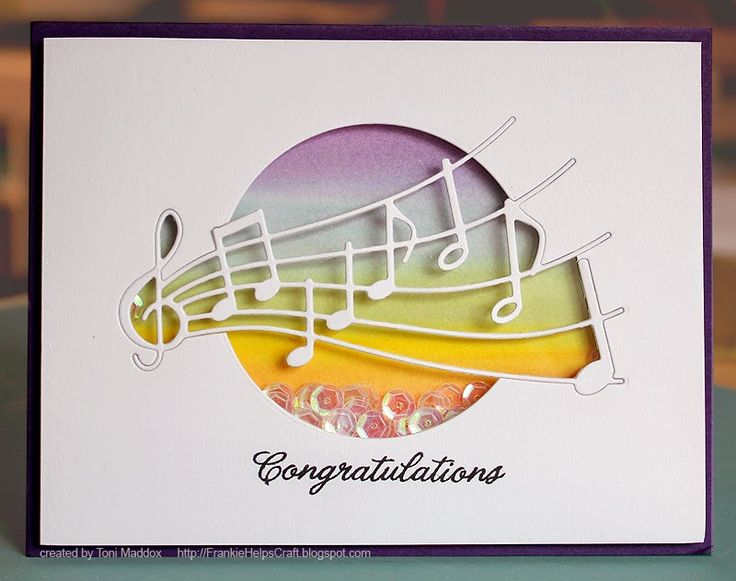 Congratulations—The Details:  PTI white and purple cardstock, Versamark Black Onyx ink, Tim Holtz watercolor paper and Distress Inks (chipped sapphire, red brick, mustard seed, dusty concord), Memory Box Party Music die, Hero Arts Everyday Sayings sentiment...
