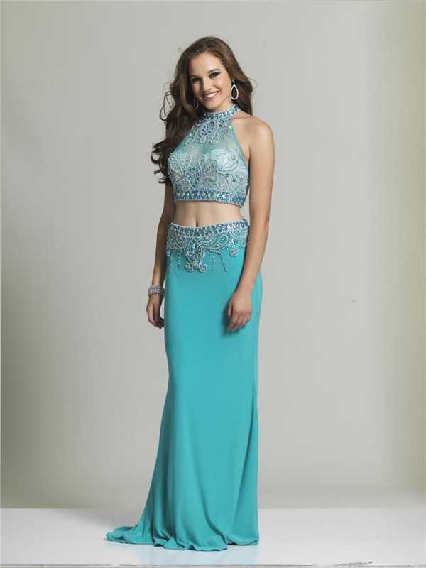 Dave and Johnny 1727 Beaded Halter Neck Long Two Piece Prom Dresses Discount