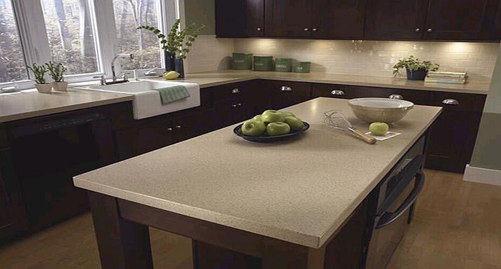 Light Quartz countertop with dark cabinets