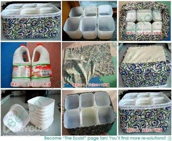 contenedor de botellas y telas
