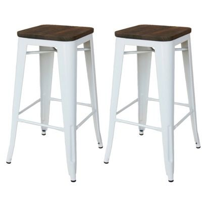 Threshold Hampden 29 Industrial Barstool With Wood Top