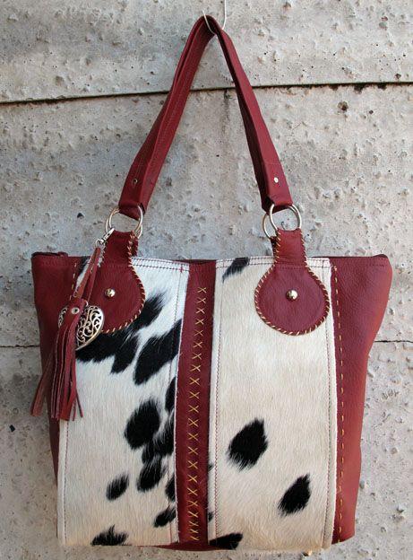 Leather bag with nguni skin