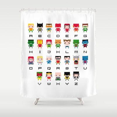 Superb Superhero Alphabet Shower Curtain