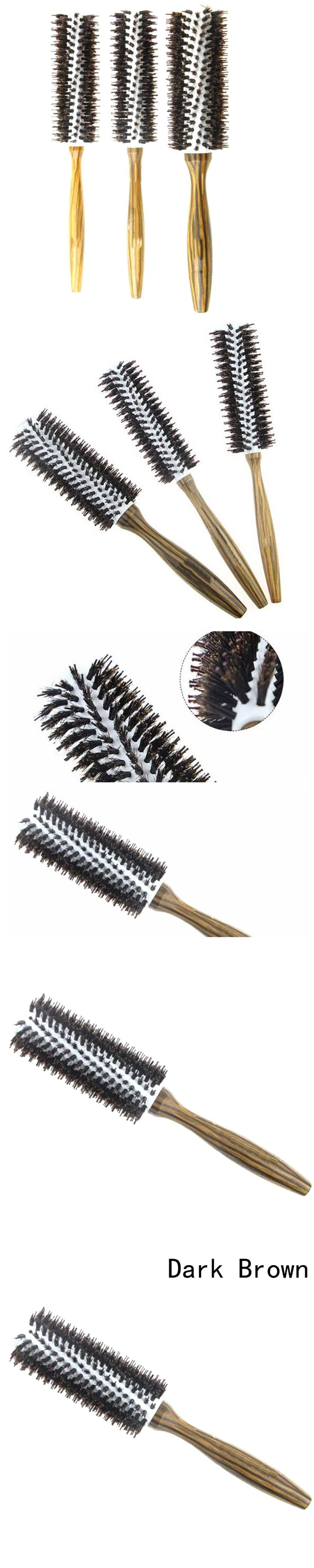 New 2018 Roll Round Hair Brush Comb Brush Hair Care Tool Wood Handle Natural Bristle Curly Hair Brush Fluffy Comb Hairdressing