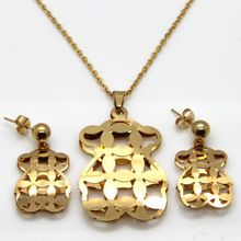 De acero inoxidable de la osa menor sistemas de la joyería, Hollow 18 k oro del oído del perno prisionero con colgante mujeres joyas venta al por mayor(China (Mainland))