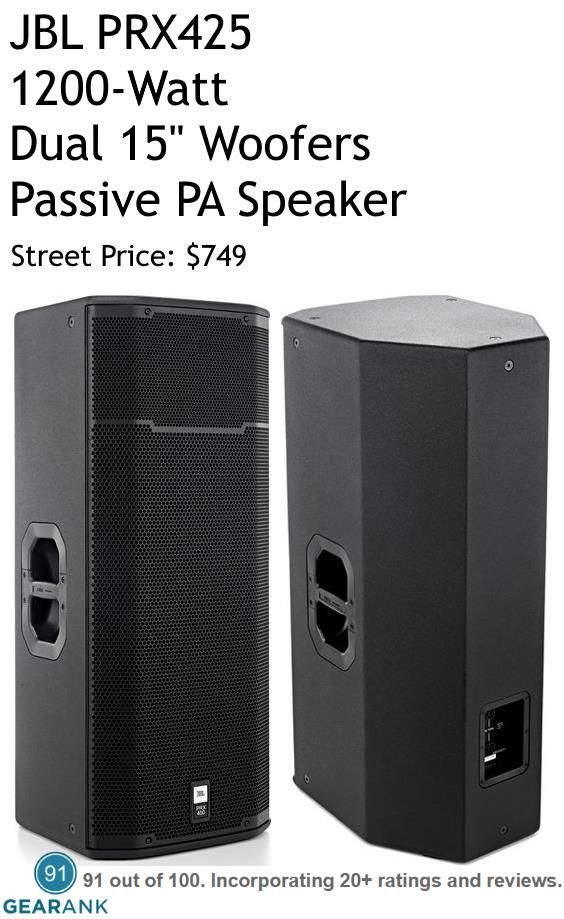 """JBL PRX425 Passive PA Speaker 1200W Dual 15"""" Woofers.  Features: 2 x 12"""" LF Driver - 1"""" HF Driver - Continuous Power: 600W - Program Power: 1200W - Peak Power: 2400W - Impedance 4 ohms - Frequency Range: 55Hz - 19kHz - Maximum Peak SPL: 134dB - Weight: 74 lbs.  For a Detailed Guide to Passive PA Speakers see https://www.gearank.com/guides/passive-pa-speakers"""