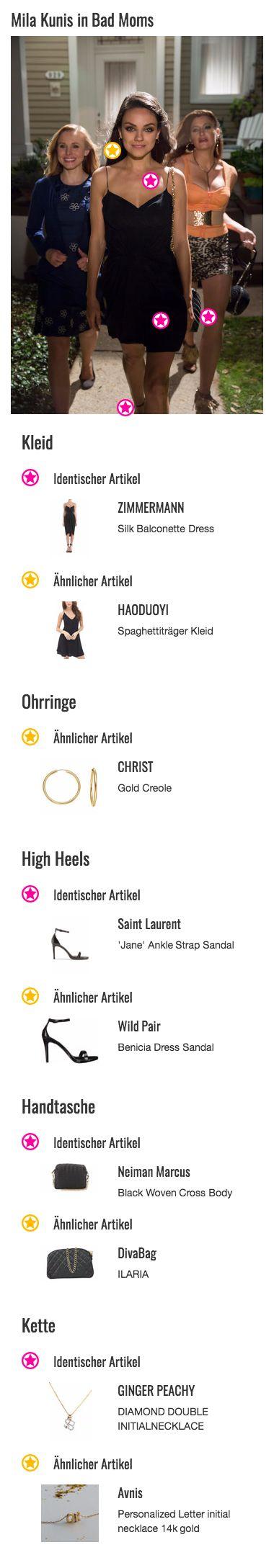 Auch Amy (Mila Kunis) hat sich für ihren seit Langem ersten Partyabend in Schale geworfen. Hauptelement ihres Outfits ist das schwarze Seidenkleid von ZIMMERMANN mit drapierter Taille, Spaghettiträgern und einem eleganten V-Ausschnitt, das ihrem Style Eleganz und Klasse verleiht. Das Designerstück wurde unten etwas gekürzt, um Amys Look besonders sexy aussehen zu lassen.