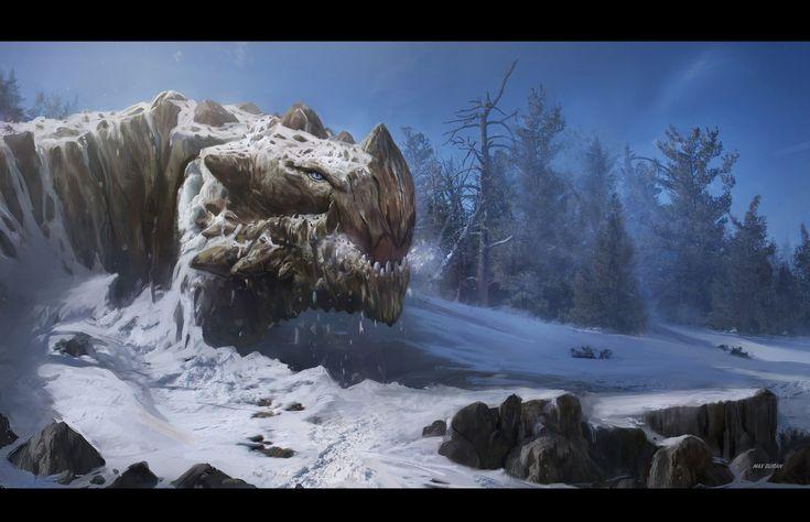 Mountain dragon waking up, Max Duran on ArtStation at https://www.artstation.com/artwork/1Pe9K