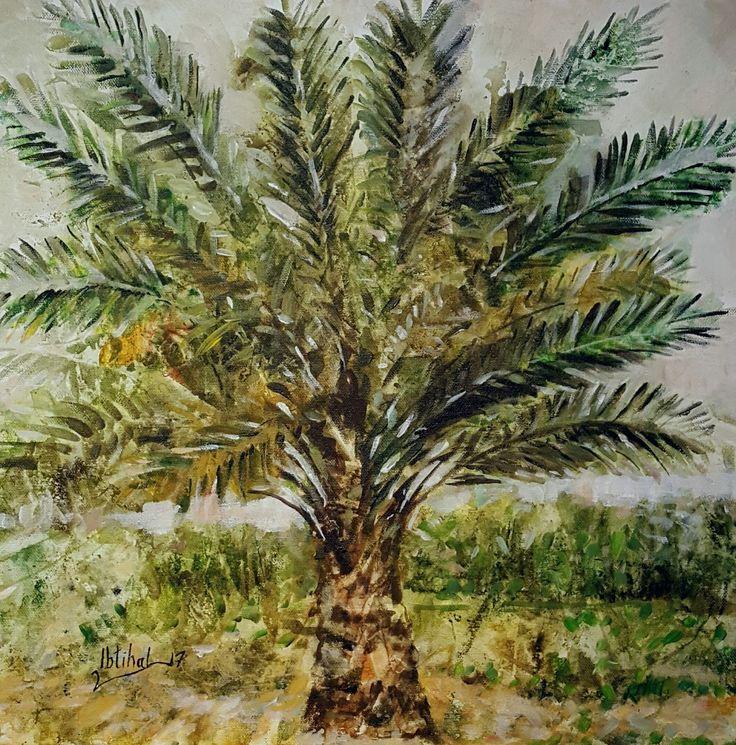 My painting  من اعمال     ابتهال الخالدي    ٤٠×٤٠   Palma نخل عراقي