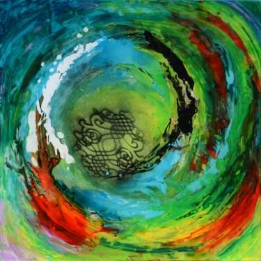 Maelstrom, Colourful abstract artwork painted in reverse  on clear  plexiglass panel