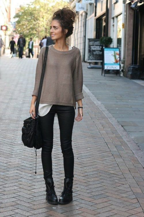Legging and biker boots. Sweater and cute messy bun
