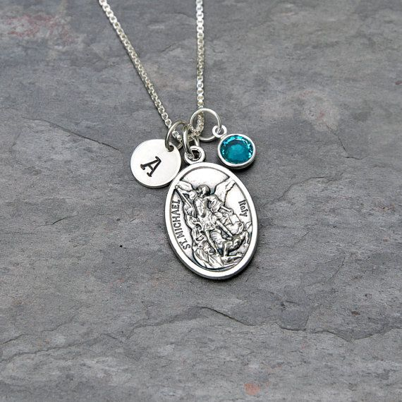 Best 25 st michael necklace ideas on pinterest st michael medal saint st michael necklace sterling silver chain personalized initial swarovski crystal birthstone or pearl protector police aloadofball Image collections
