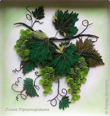 Картина панно рисунок Квиллинг Виноград Бумага фото 4