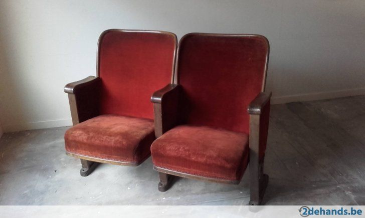 dubbele cinemazetel ( hout en rood fluweel ) prachtstuk