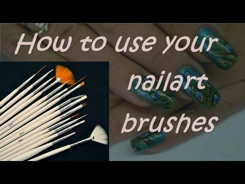Awesome nail striping brush tutorial! This tutorial shows multiple free style nail design techniques.