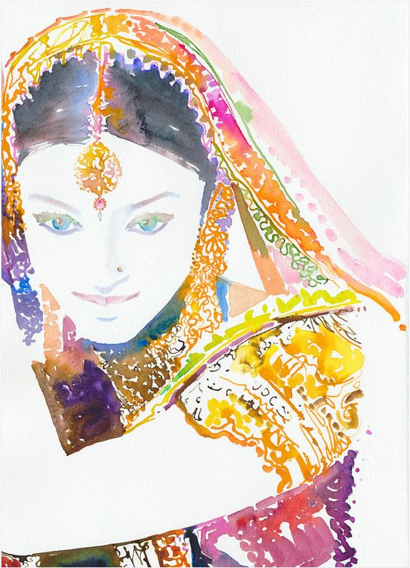 watercolor print by @Cate ParrWall Art, Indian Art, The Artists, Watercolor Fashion, Cate Parr, Watercolors Fashion, Art Painting, Fashion Illustrations, Watercolors Painting