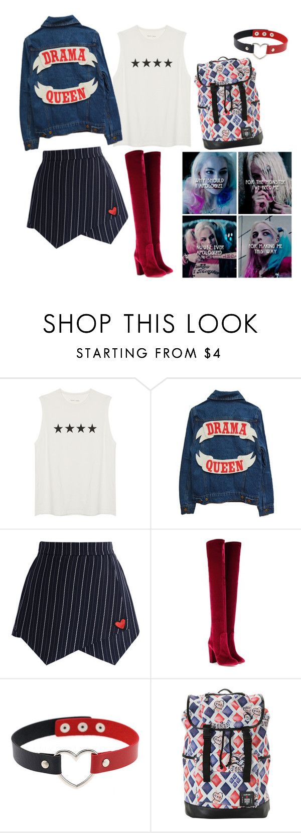"""""""harley quinn inspired"""" by barbi2003 on Polyvore featuring Chicwish and Aquazzura"""