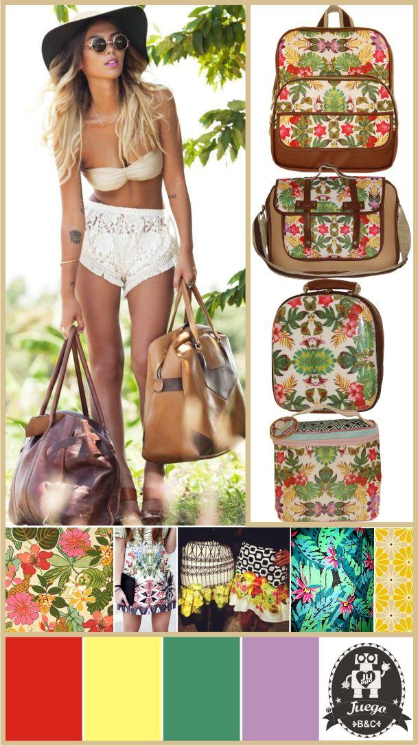 Collage print flores hoja rota colección Tropical.