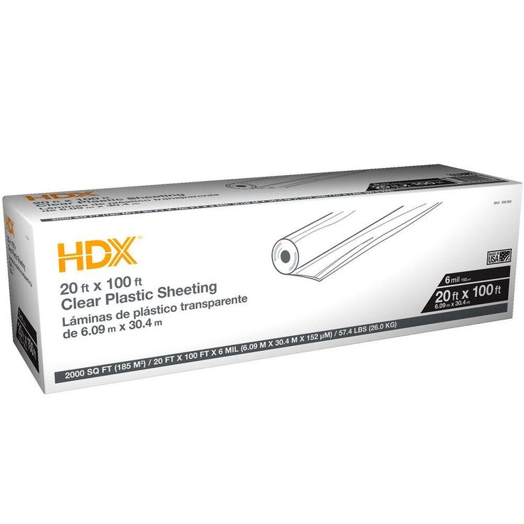Hdx 20 ft x 100 ft clear 6 mil plastic sheeting