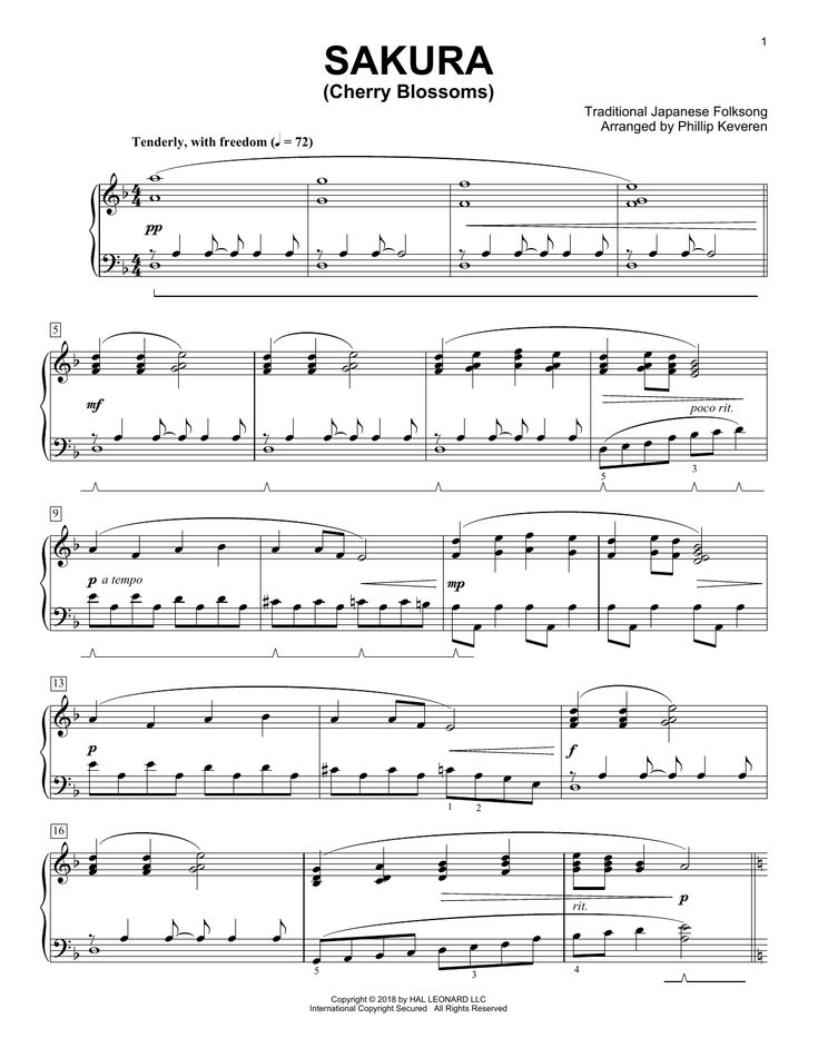 Traditional Japanese Folk Song Sakura Cherry Blossoms Classical Version Arr Phillip Keveren Sheet Music Notes Chords Score Download Printable Pdf Sheet Music Notes Music Notes Sheet Music