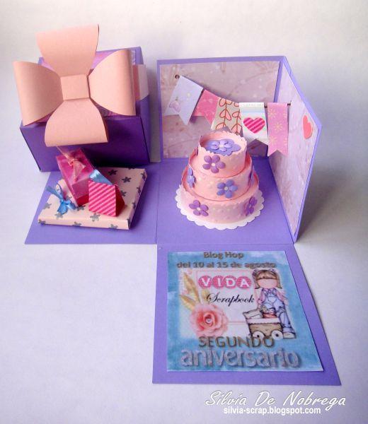 Tarjeta- Cajita Explosiva Silvia Scrap: Blog Hop 2do Aniversario de VIDA Scrapbook Challenge