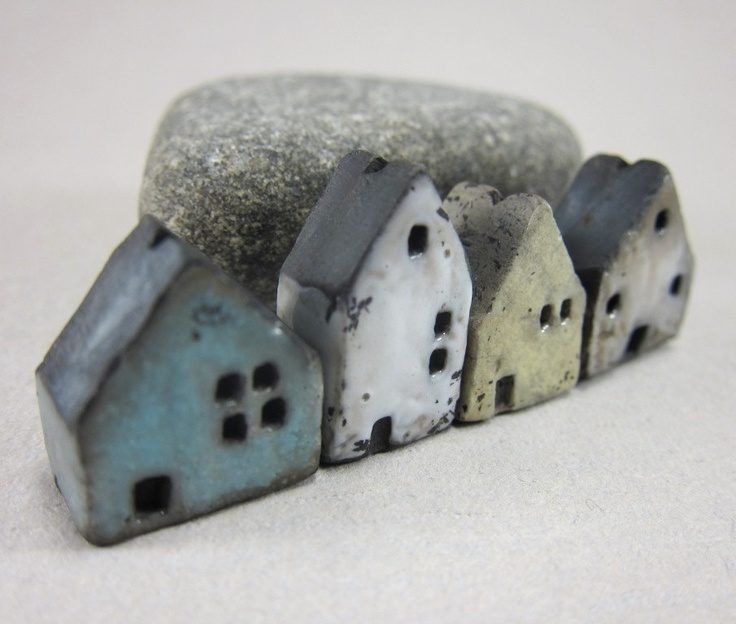 4 Saggar Fired Miniature House Beads by elukka on Etsy