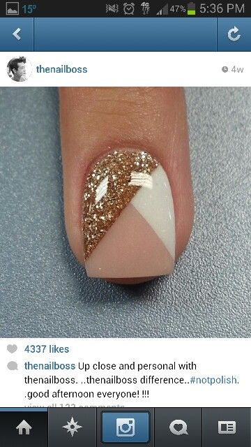 Awesome nail idea! Tape diagonally. Fill in white. Dry. Tape other diagonally. Fill in gold. Over coat.