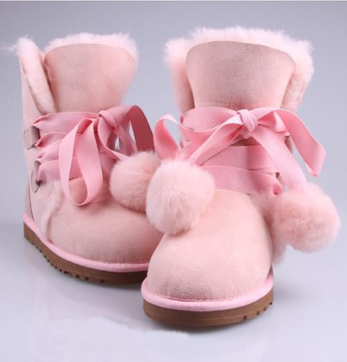 Sweet Cute Pink Lace-Up Bowknot Fluffy Snow Boots