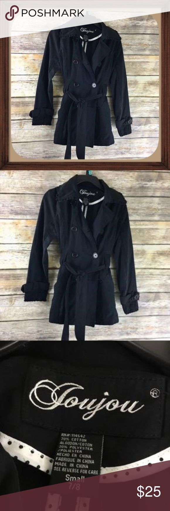 Jou Jou Girls Black Trench Coat Size Small 7/8 Girls black trench coat. Size small 7/8. In excellent used condition. Pockets on sides. 24 inches long. 19 inch sleeves. 15 inches arm pit to arm pit Jou Jou Jackets & Coats