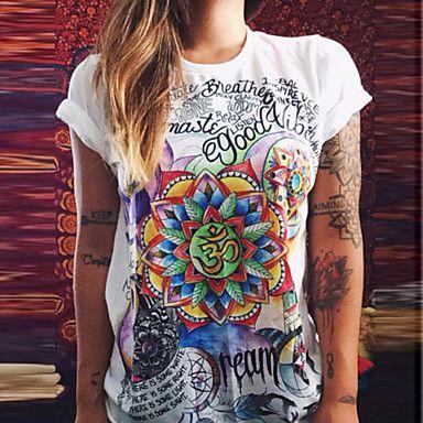 T-Shirt Da donna Peplo Rotonda Manica corta Cotone del 4872966 2016 a €12.73