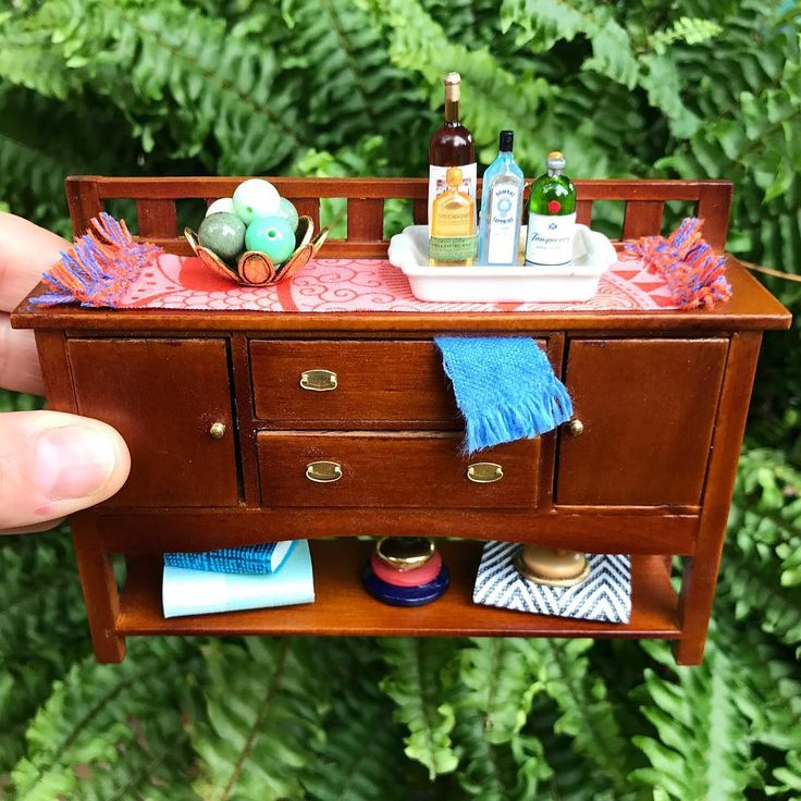 "223 Likes, 2 Comments - DomestiKate (@domestikatethis) on Instagram: ""Playing in the living room.  This buffet piece reminds me of my great great grandmother's buffet #miniaturefurniture"