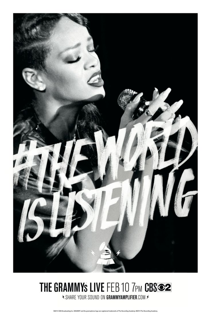 Rihanna #TheWorldIsListeningGrammy Awards, Listening Portraits, Provider Types, Graphics Design, Projects Aim, 55Th Grammy, Media Projects, Types Treatments, Portraits 02