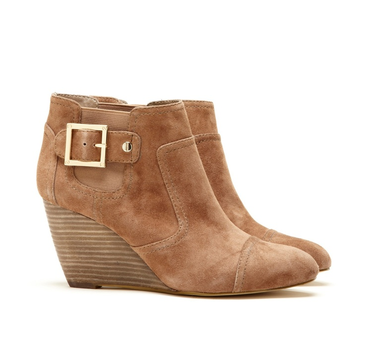 sole society buckle wedge boot: Ankle Boots Wedge, Fall Wedge, Shoes, Suede Booties, Style, Wedge Bootie, Buckle Wedge, Sole Society Bootie
