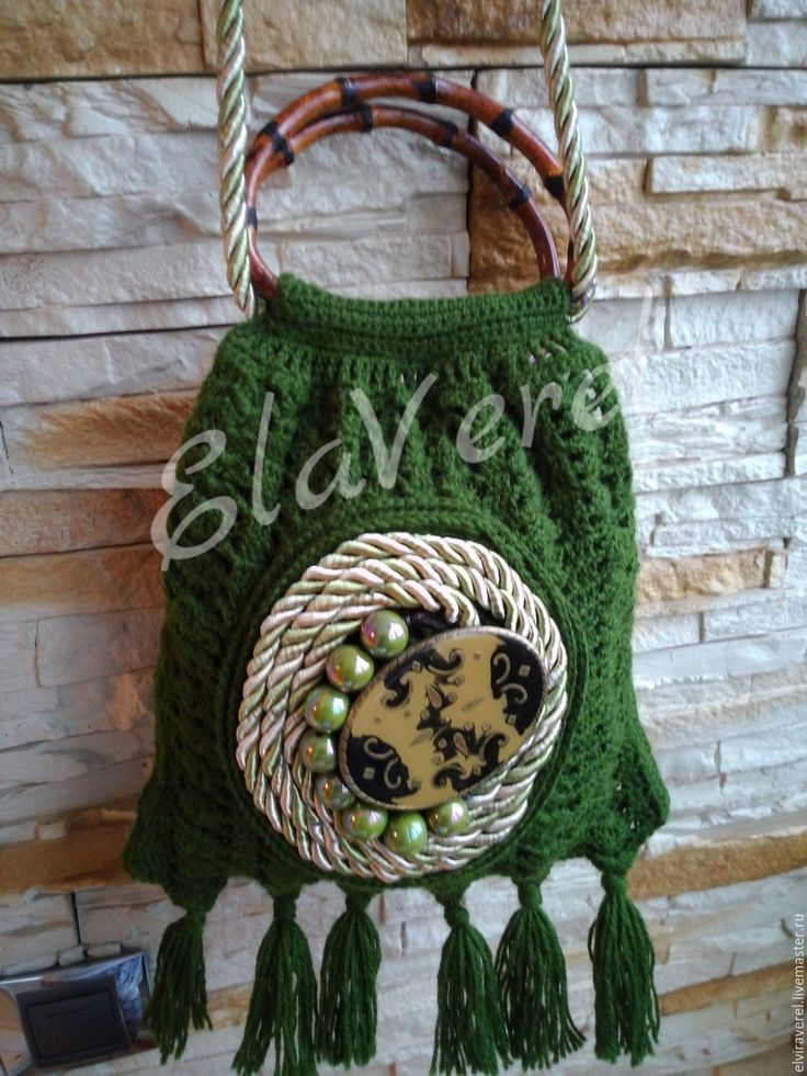 """Купить Вязаная сумка """"ИЗУМРУДНЫЙ ВИНТАЖ - Бохо """" - тёмно-зелёный, зеленая сумка"""