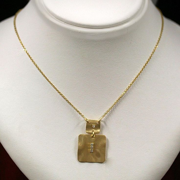 Hammered golden pendant Necklace in 925 sterling silver Jewelry from Italy