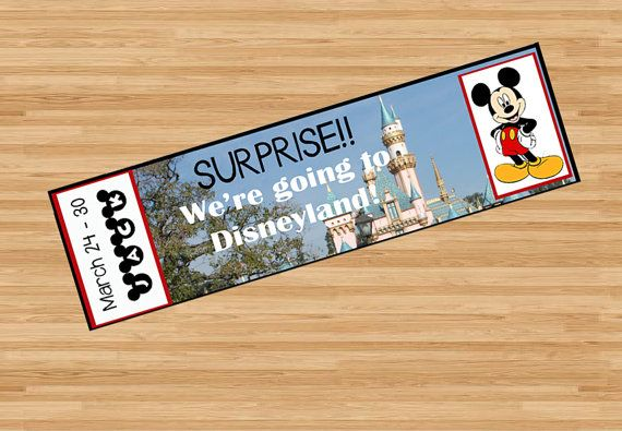Printable Ticket to Disneyland Disney World by SnappyBrickPhotos Surprise plane ticket Disneyworld, custom, name, personalize, DIY, print